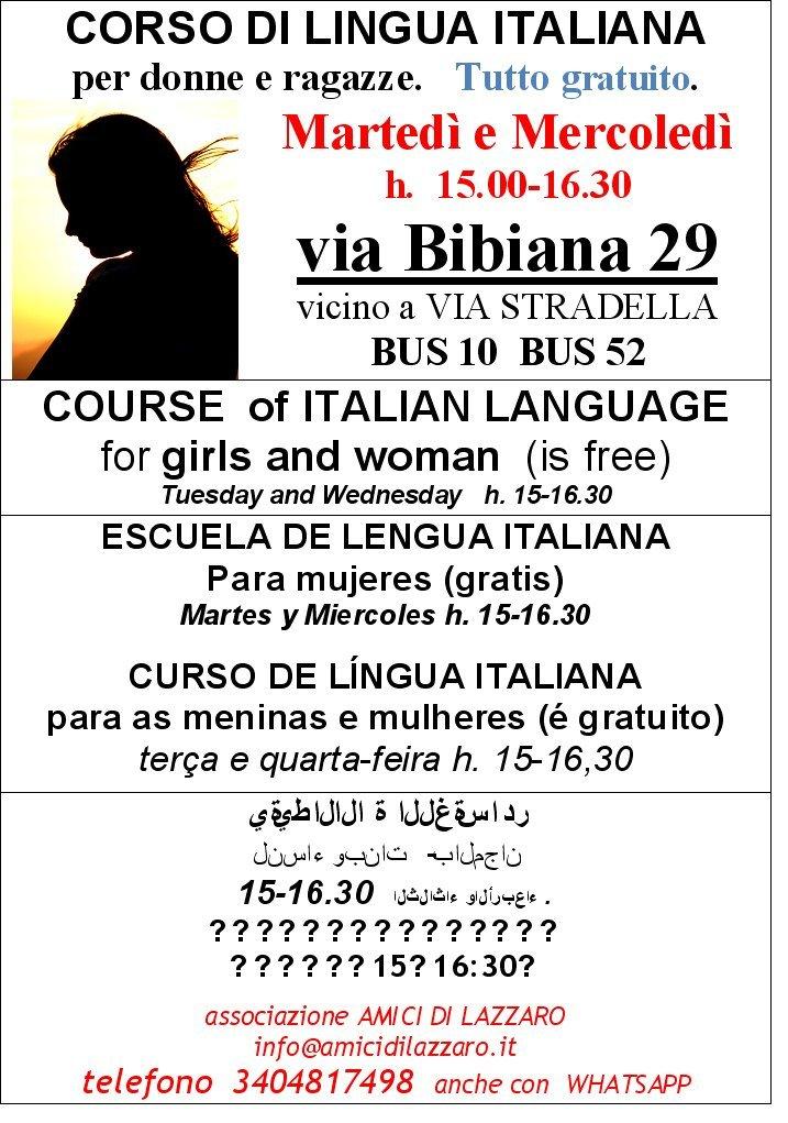Corso di lingua Italiana per donne e ragazze. Gratuito